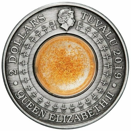 2019 Golden Treasures of Ancient Egypt 2oz .9999 Silver Antiqued Coin 3