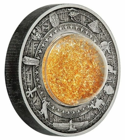 2019 Golden Treasures of Ancient Egypt 2oz .9999 Silver Antiqued Coin 2