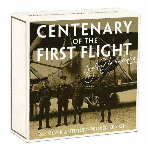 2019 100th Anniversary of the First Flight England to Australia 2oz Silver Antiqued Coin 5