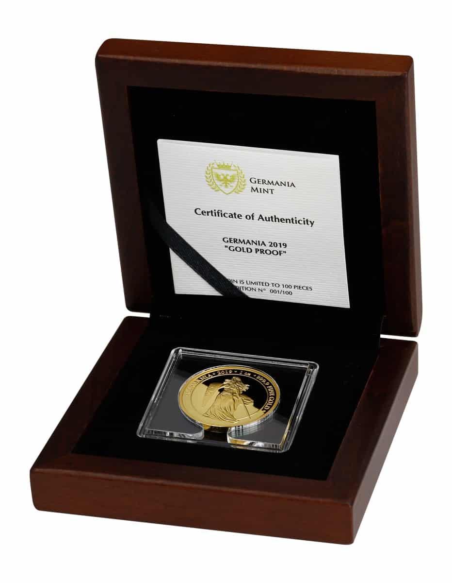 2019 Germania 100 Mark 1oz Gold Proof Coin - CoA 88/100 3