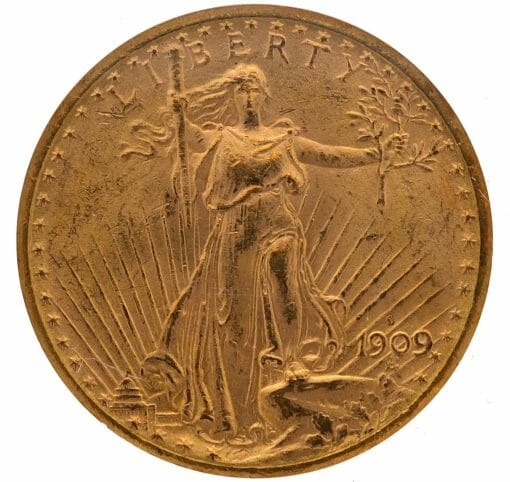1909 S Saint Gaudens Double Eagle Gold Coin - $20 - NGC MS 62 3