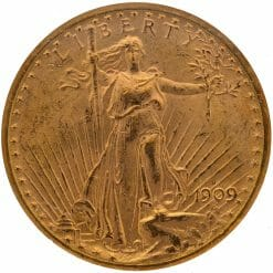 1909 S Saint Gaudens Double Eagle Gold Coin - $20 - NGC MS 62 7