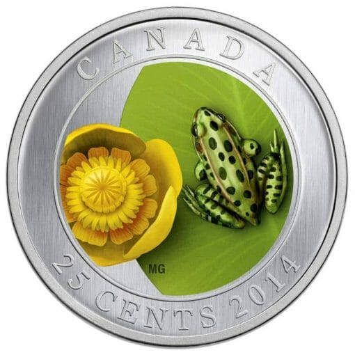 2014 Water-Lily and Leopard Frog 25 Cent Coloured Coin 1