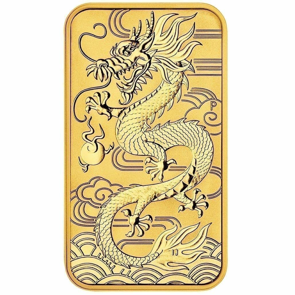 2018 Dragon 1oz .9999 Gold Bullion Rectangular Coin 1