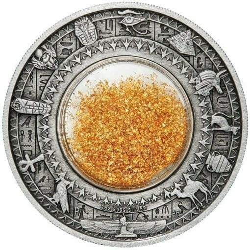 2019 Golden Treasures of Ancient Egypt 2oz .9999 Silver Antiqued Coin 1