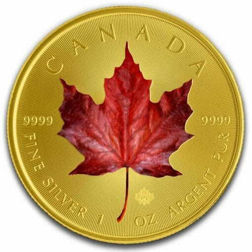 2019 Red Maple Leaf Colourised Gilded 1oz .9999 Silver Coin 1