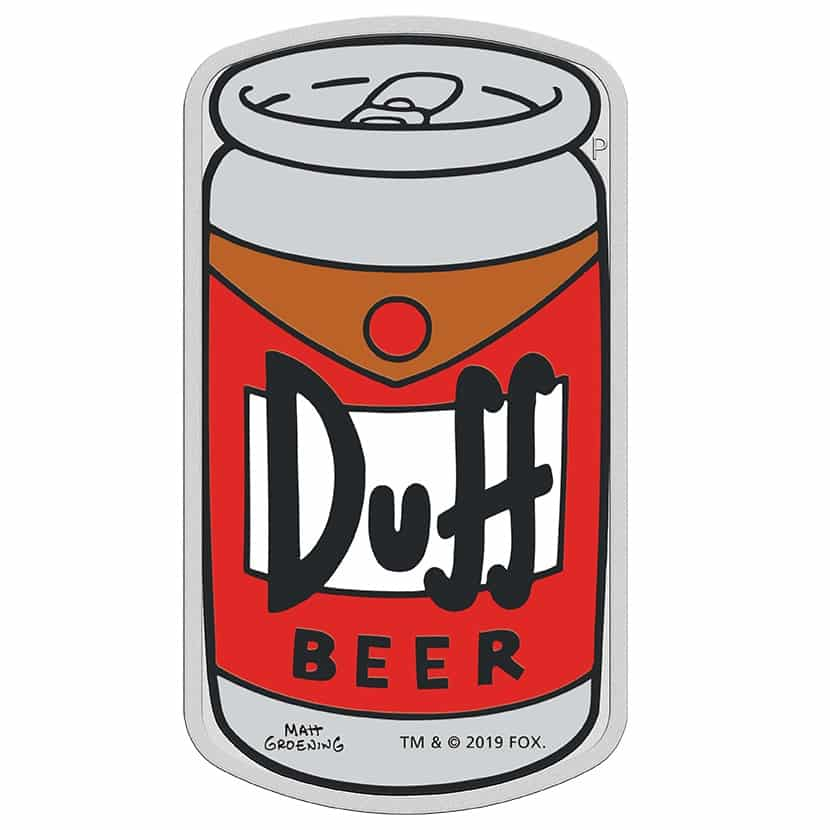 2019 The Simpsons - Duff Beer 1oz .9999 Silver Proof Coin 1