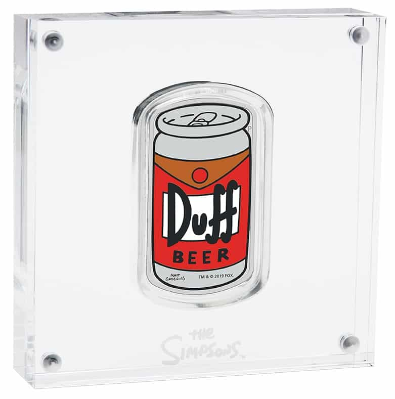 2019 The Simpsons - Duff Beer 1oz .9999 Silver Proof Coin 2