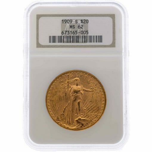1909 S Saint Gaudens Double Eagle Gold Coin - $20 - NGC MS 62 1