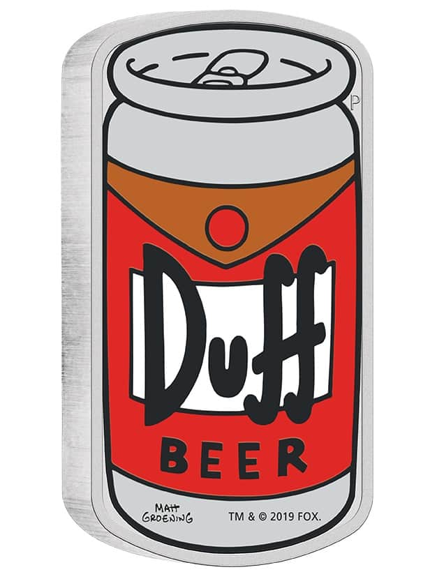 2019 The Simpsons - Duff Beer 1oz .9999 Silver Proof Coin 3