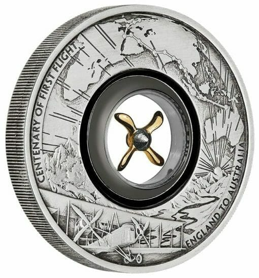 2019 100th Anniversary of the First Flight England to Australia 2oz Silver Antiqued Coin 2