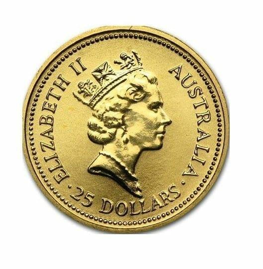 1987 The Australian Nugget 1/4oz .9999 Gold Bullion Coin 2