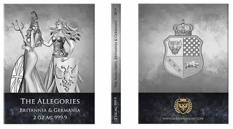 2019 The Allegories - Britannia & Germania 2oz .9999 Silver Coin 3