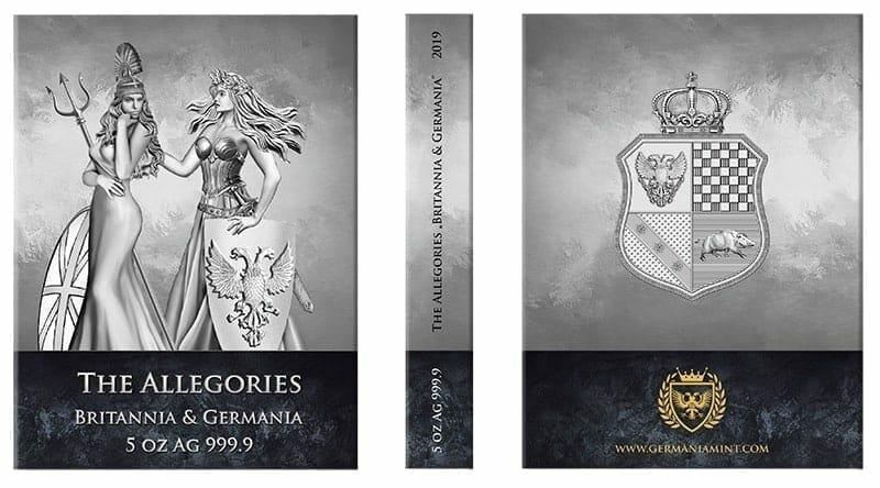 2019 The Allegories - Britannia & Germania 5oz .9999 Silver Coin 3