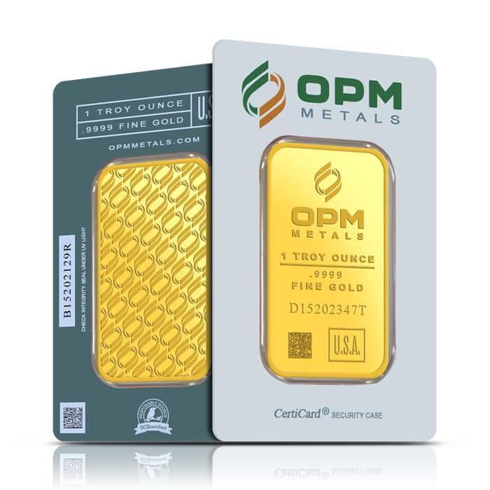 OPM 1oz .9999 Gold Minted Bullion Bar 3