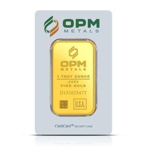 OPM 1oz .9999 Gold Minted Bullion Bar 1