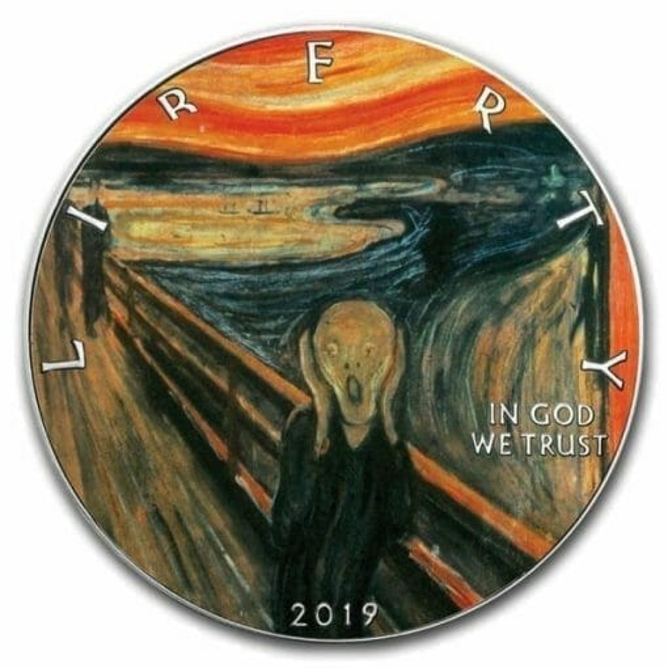 2019 The Scream American Silver Eagle Coloured 1oz .999 Silver Coin 1