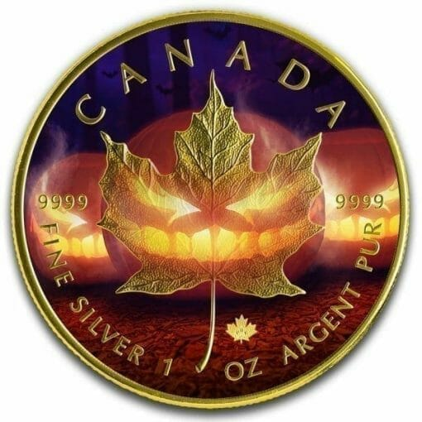 2019 Halloween Maple Leaf Coloured 1oz .9999 Silver Coin 1