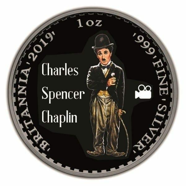 2019 Charlie Chaplin Britannia Black Ruthenium 1oz .999 Silver Coin 1