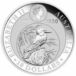 2020 Australian Kookaburra 10oz .9999 Silver Bullion Coin - 30th Anniversary 5