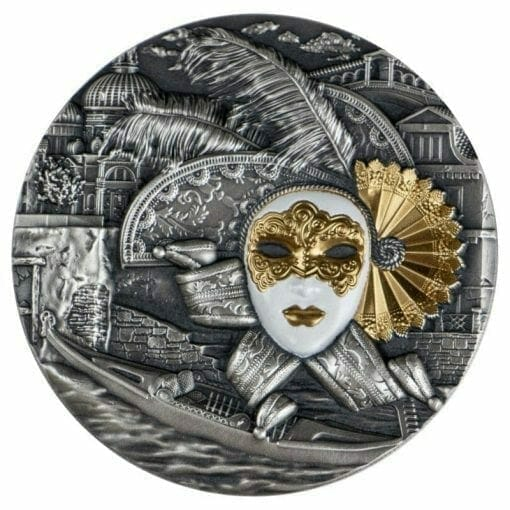 2019 Venetian Mask - Carnival of Venice 2oz Antiqued High Relief Silver Coin 1