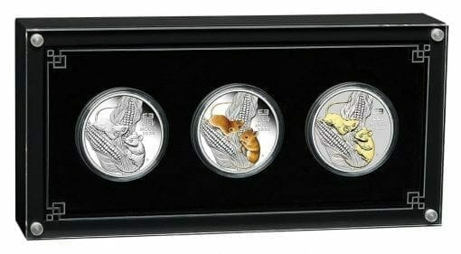 2020 Year of the Mouse 3 Coin Silver Trio Set - Lunar Series III 1