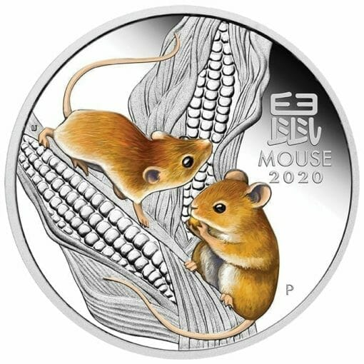 2020 Year of the Mouse Coloured 1oz .9999 Silver Proof Coin - Lunar Series III 1