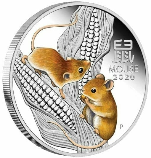 2020 Year of the Mouse Coloured 1oz .9999 Silver Proof Coin - Lunar Series III 3