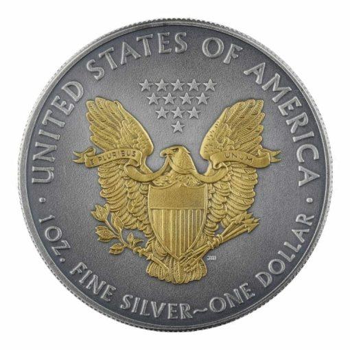 2019 American Silver Eagle 1oz Silver Coin - Antique Gold Edition 2