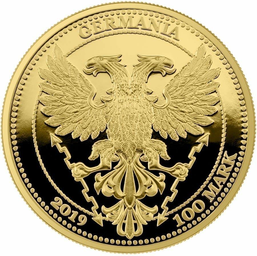 2019 Oak Leaf 100 Mark 1oz .9999 Gold Proof Coin 2