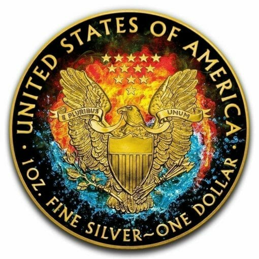 2019 Yin Yang - American Eagle 1oz Gilded Colourised Silver Coin 2
