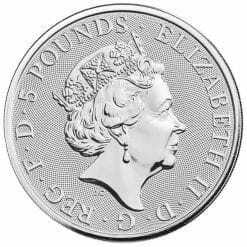 2020 The Queen's Beasts - The White Lion of Mortimer 2oz .9999 Silver Bullion Coin 5