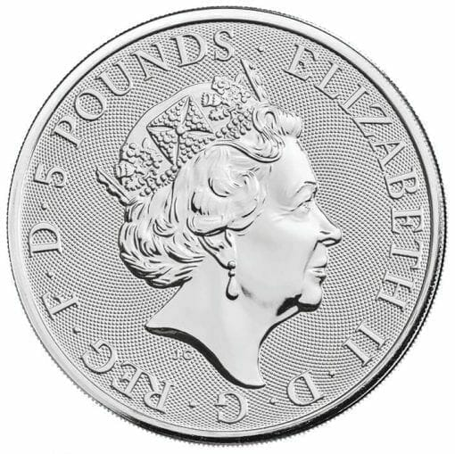 2020 The Queen's Beasts - The White Lion of Mortimer 2oz .9999 Silver Bullion Coin 3