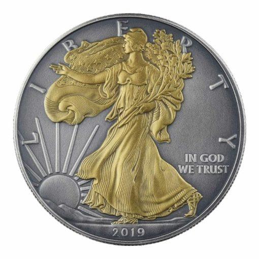 2019 American Silver Eagle 1oz Silver Coin - Antique Gold Edition 1