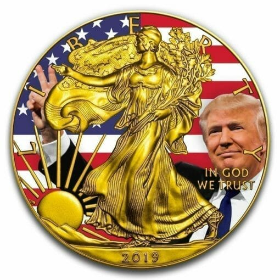 2019 Donald Trump Peace Sign - American Silver Eagle 1oz Silver Coin 1