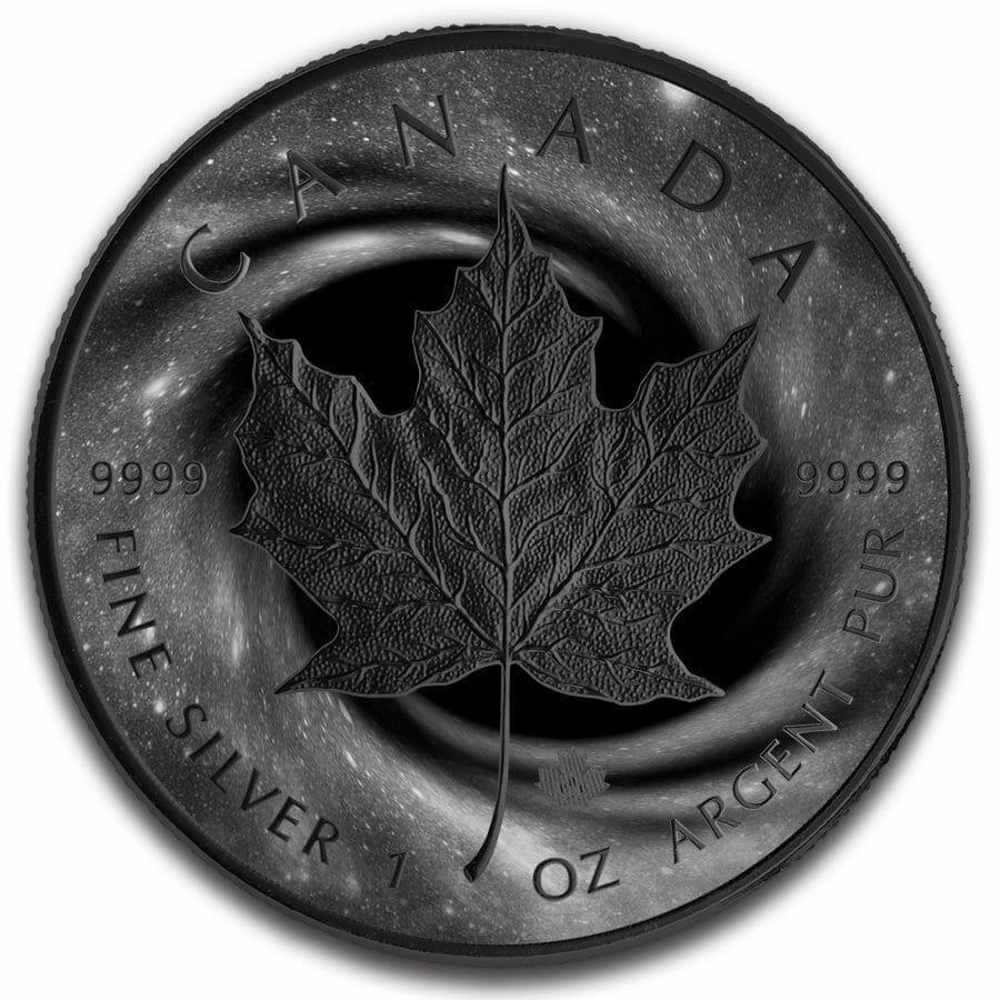2019 Black Hole Maple Leaf 1oz Black Ruthenium Silver Coin 1