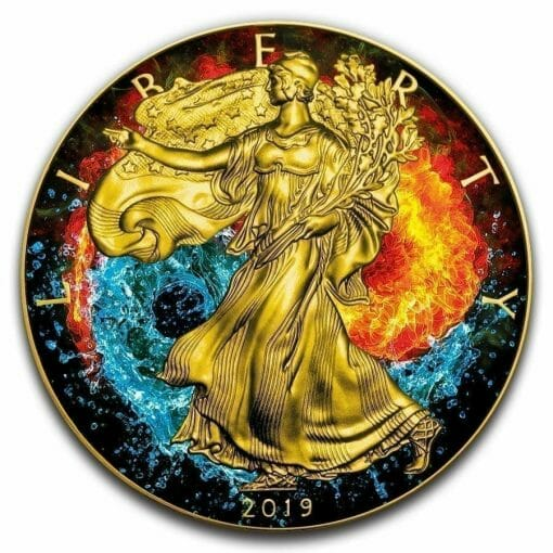 2019 Yin Yang - American Eagle 1oz Gilded Colourised Silver Coin 1