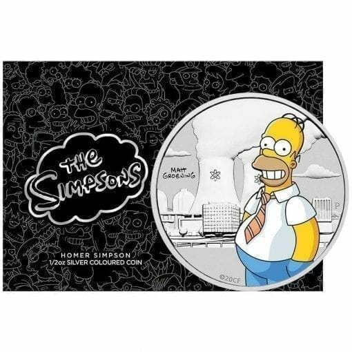 2020 The Simpsons - Homer Simpson Coloured 1/2oz Silver Coin in Black Card 1