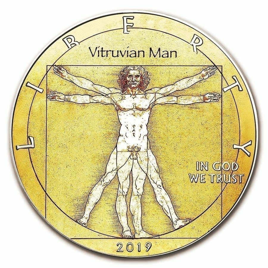 2019 Da Vinci Vitruvian Man - American Eagle 1oz Silver Coin 1