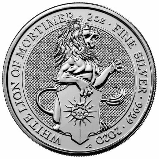 2020 The Queen's Beasts - The White Lion of Mortimer 2oz .9999 Silver Bullion Coin 1