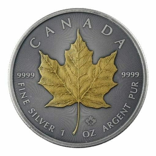 2019 Maple Leaf 1oz Silver Coin - Antique Gold Edition 1