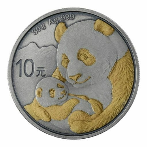 2019 Chinese Panda 30g Silver Coin - Antique Gold Edition 1