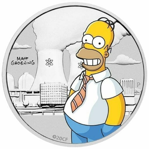 2020 The Simpsons - Homer Simpson Coloured 1/2oz Silver Coin in Black Card 3