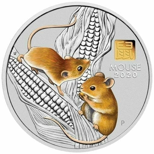 2020 Year of the Mouse 1 Kilo Silver Coin with Gold Privy Mark - Lunar Series III 1