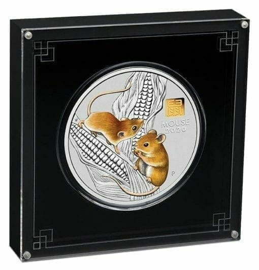 2020 Year of the Mouse 1 Kilo Silver Coin with Gold Privy Mark - Lunar Series III 2