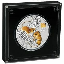 2020 Year of the Mouse 1 Kilo Silver Coin with Gold Privy Mark - Lunar Series III 6