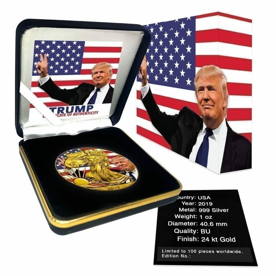 2019 Donald Trump Peace Sign - American Silver Eagle 1oz Silver Coin 5