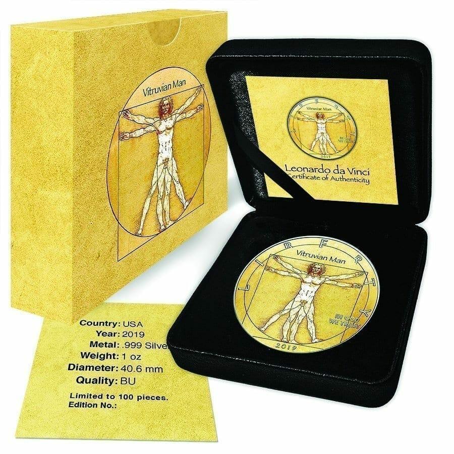 2019 Da Vinci Vitruvian Man - American Eagle 1oz Silver Coin 4