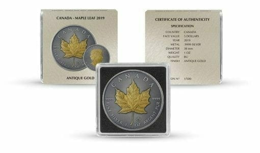 2019 Maple Leaf 1oz Silver Coin - Antique Gold Edition 3