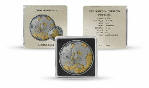 2019 Chinese Panda 30g Silver Coin - Antique Gold Edition 3